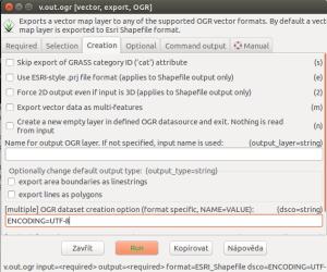 Modul v.out.ogr s vyplněným parametrem lco a hodnotou ENCODING=UTF-8